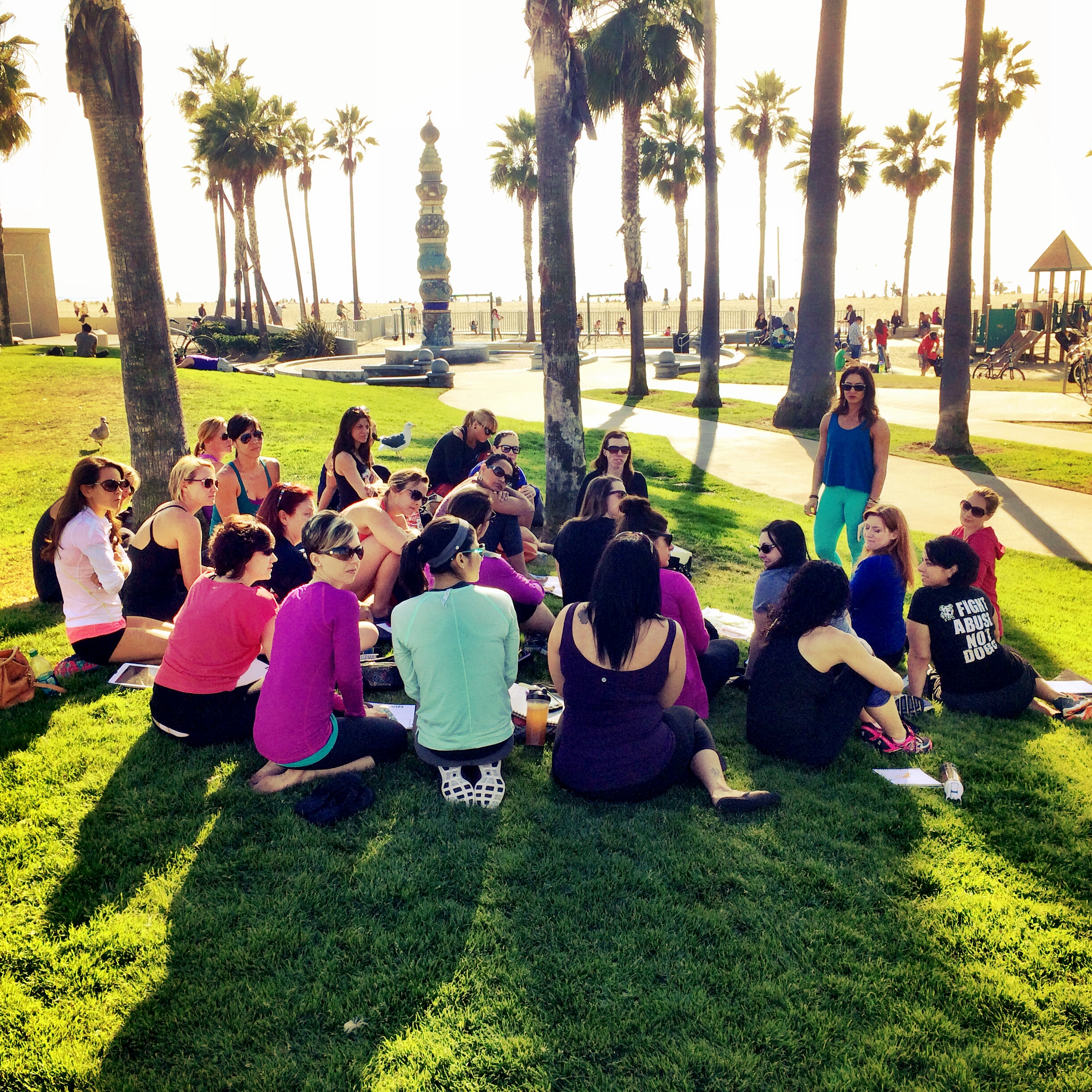 Mindful eating journaling activity on the beach